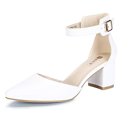 IDIFU Women's IN2 Pedazo-C Mid Chunky Heels Ankle Strap D'Orsay Pumps (White PU, 7 B(M) US)