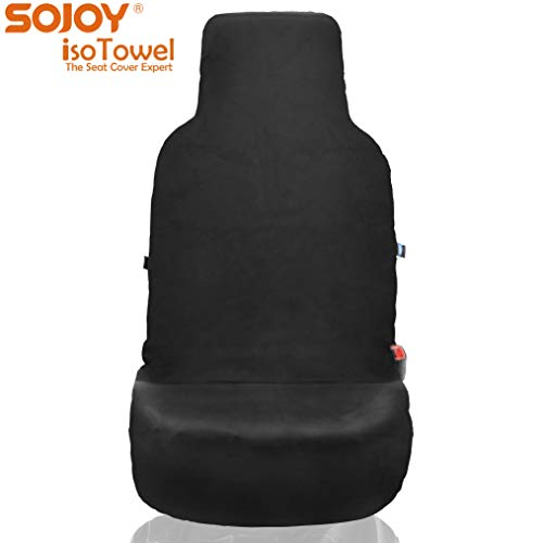 (Sojoy Four Seasons Car Seat Cover - Microfiber Seat Protector with Quick-Dry, No-Slip Technology. Car Seat Protection from All Workouts, All-Weather (Black) )