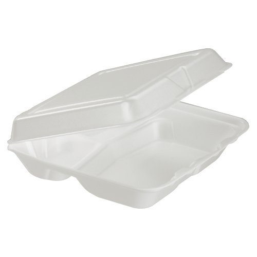 Dart 80HT3 8 Inch Length by 7.5 Inch Width by 2.3 Inch Height White Color 3 Inch Compartmented Foam Hinged Lid Carryout Container 100-Pack (Case of 2)
