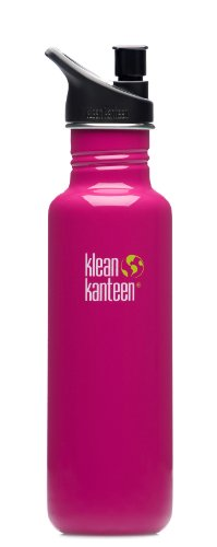 Klean Kanteen 18-Ounce Classic, Poly Sport Cap 2.0 Stainless Steel Water Bottle, Active Pink