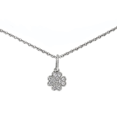 ZE Sparkling Sterling Silver Diamond Clover Flower Necklace