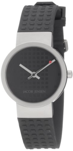 Jacob Jensen 422 Clear Line Stainless Steel Case Black Rubber Band Women's Watch
