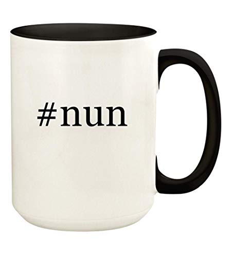 #nun - 15oz Hashtag Ceramic Colored Handle and Inside Coffee Mug Cup, Black (Best Gift For Nuns)