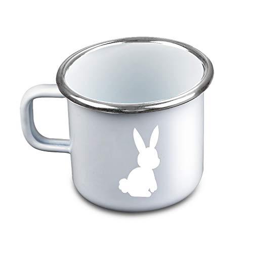 Bunny Silhouette White Metal Camping Mug Enamel Cup]()