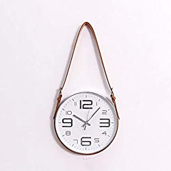 Nordic Modern Style Mute Rope Hanging Clock Wall Clock Novel Round Silent Clock Decor For Study office bedroom living room