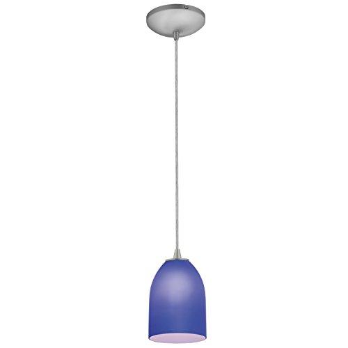Bordeaux Three Light Pendant - Bordeaux - E26 LED Cord Pendant - Brushed Steel Finish - Cobalt Glass Shade