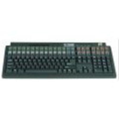 Logic Controls Black Fully Programmable Keyboard, 132 Programmable Keys, 61 Programmable Function Keys, Two Track Magnetic Stripe Reader, PS/2 Interface, (132 Programmable Keys)