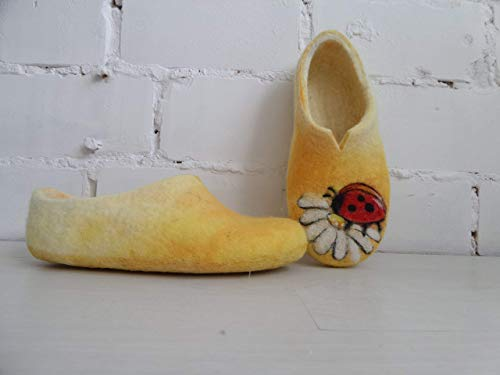 Clogs Ladybug - Felted Wool Slippers Ladybug Custom painted Womens House Shoes Gift for wife