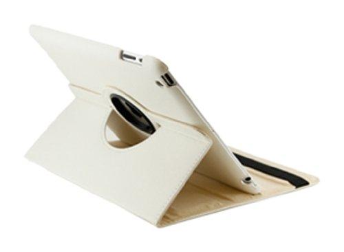 Gearonic - Funda de piel con función atril giratoria para iPad 2 (función atril), Blanco