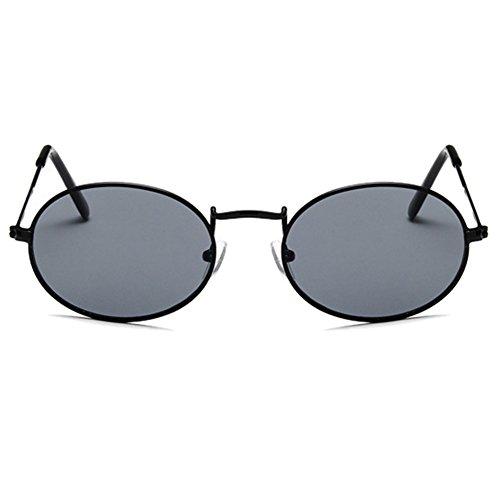 à Noir ovales la femmes en classiques mode Retro des soleil métal de Lunettes AnqY76A