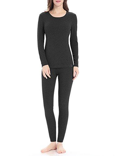 (Genuwin Women's Thermal Underwear Set Stretchy Cotton Ladies Long Johns Underwear Women Base Layer S~XL(Dark Gray, Medium)