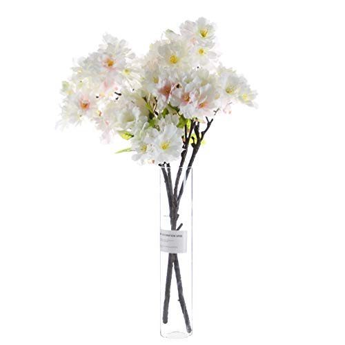 UUPP 2 Pcs Artificial Cherry Blossom Branches Flowers Silk Peach Flowers Arrangements for Home Wedding Decoration, 19.7 inches (White) Cherry Blossom Flower Bead