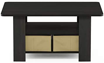 picture of Furinno Coffee Table - Bins, Espresso/Brown