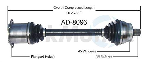Parts Panther OE Replacement for 2005-2006 Audi A4 Quattro Front Left CV Axle Shaft (Avant/Base/Cabriolet/Elite/Luxury)