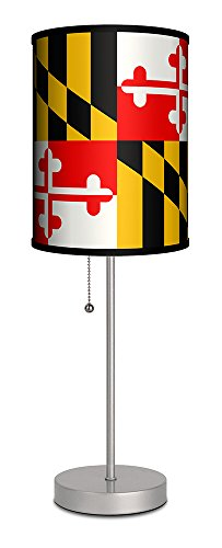 Lamp-In-A-Box SPS-TRV-FLGM1 Travel-Maryland State Flag Silver Sport Lamp, 7'' x 7'' x 20'' by Lamp-In-A-Box