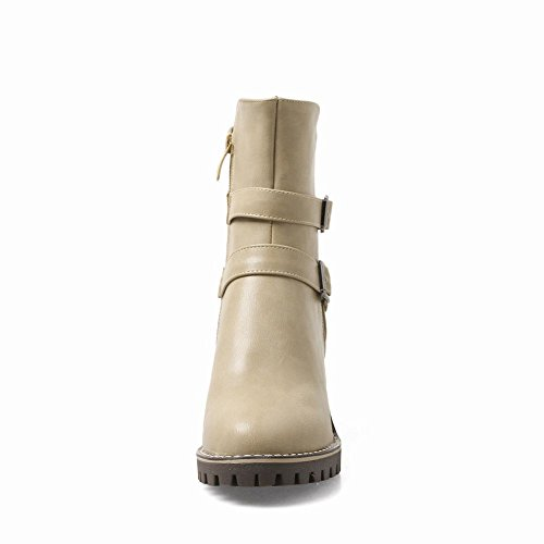 Charm Foot Womens Western Zipper Buckle Chunky Mid Heel Short Boots Beige