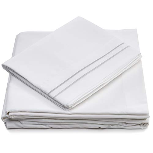 Cosy House Collection Full Size Bed Sheets - White Luxury Sheet Set - Deep Pocket - Super Soft Hotel Bedding - Cool & Wrinkle Free - 1 Fitted, 1 Flat, 2 Pillow Cases - Full Sheets - 4 Piece