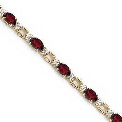 Oval Garnet and Diamond Link Bracelet 14k Yellow Gold (6.72 ctw)