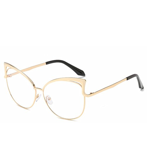 Gold Yiyepoetry Lady de Lens Frame Soleil Lunettes Clear Glasses Color Green 0g0r7qx