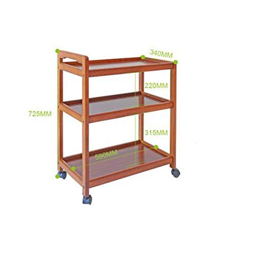 (Wisdom Shelving & Storage Wood Kitchen Serving Storage Trolley 3 Tiers Kitchen Shelf Frame on Wheels Bathroom Rack L45Xw38Xh77CM Sturdy Durable)