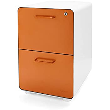 Amazon Com Poppin White Orange Stow 2 Drawer File