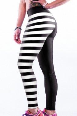 NEW Mesdames noir et blanc rayé et imprimé tête de mort femme fancy dress Porter Casual Wear Yoga Porter Club Wear Fitness Sport Taille unique 10–12