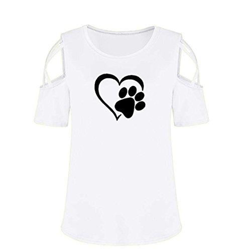 Bianco Donna Corta Stampa Tops Allentata Color Donna Estive Shirt Spalle Maglietta Particolari Solido Scoperte Magliette della Manica di T Moda qHfn4