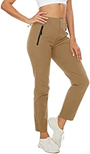 NASBING Women's Lightweight Athletic Hiking Pants Quick Dry Cargo Zip-Off Pants Camping Sweatpants Zipper