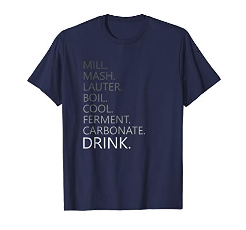 Mens Home Brewing Craft Beer Steps T-Shirt Large Navy