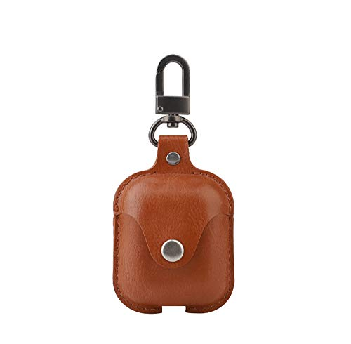 PINHEN Compatible AirPods Case - PU Pouch with Keychain Snap Closure Protective Cover for Apple Airpods Charging Case (Brown)