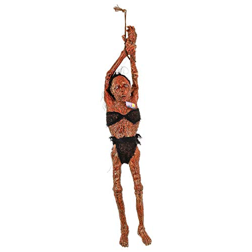 Halloween Haunters Life Size Hanging Rubber Latex Realistic Tortured Burnt Zombie Girl Prisoner Corpse Prop Decoration - Scary Rotten Flesh Human Mummy Body - Haunted House Graveyard Tombstone Display