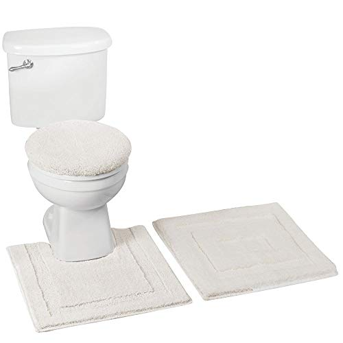 mDesign Soft Microfiber Polyester Bathroom Spa Rug Set - Water Absorbent, Machine Washable - Includes Plush Non-Slip Rectangular Accent Rug, Contour Mat, Toilet Lid Cover - Set of 3 - Ivory