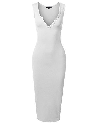 Sexy Solid Split Neck Line Front Body-Con Midi Dress White 2XL