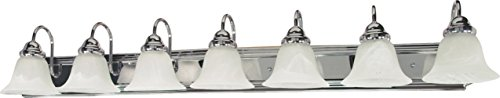 Filament Design 7778127290 7-Light Polished Vanity Light with Alabaster Glass Bell Shades, Chrome by Filament Design