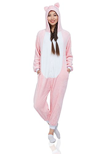 Adult Piglet Kigurumi Animal Onesie Pajamas Plush Onsie One Piece Cosplay Costume (Medium, Pink, White)