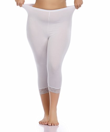 Vangee Women's Plus Size Lace Trim Soft Modal Cotton Leggings Workout Tights Pants Cropped Length (1X, Pure White)
