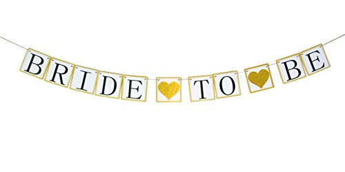 Bride To Be Banner - Bridal Shower Banner (Gold & Glitter Hearts) Bachelorette Party Banner Wedding Shower Garland Rustic Decorations Supplies Décor Sign Ideas - Hen Miss to Mrs Engagement (Party Decor Ideas)