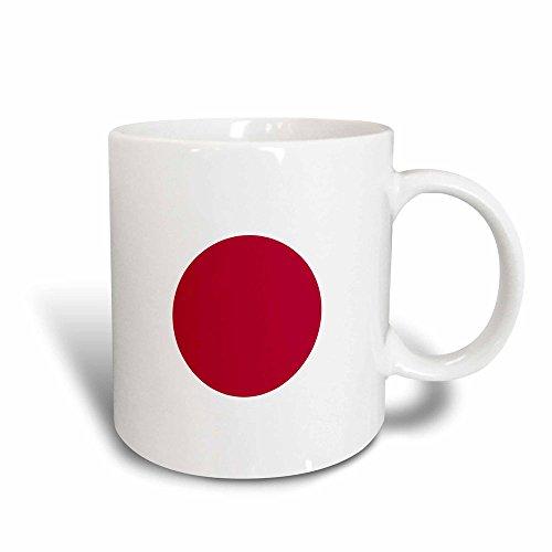 3dRose 158343_3 Flag of Japan Square Mug, 11 oz, Red