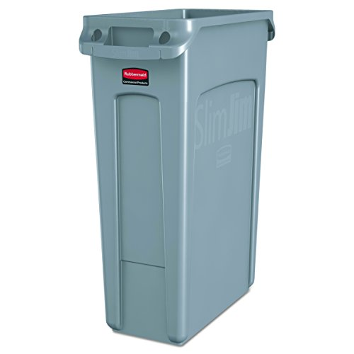 l Products Slim Jim Trash Can Waste Receptacle with Venting Channels, 23 Gallons, Gray (FG354060GRAY) (Commercial Garbage)