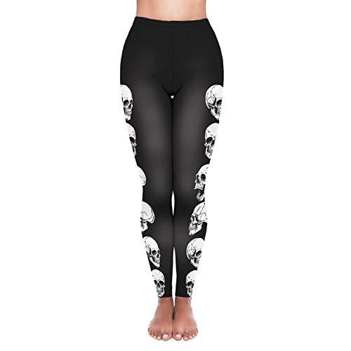 ALUN Yogahosen Halloween Schädeldruck Yoga Hosen Frauen Fitness Leggings Hohe Taille Hosen Push Up Stretch Laufbekleidung Sporthosen