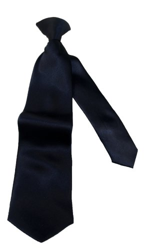 "Van Heusen Big Boys'  14"" Clip Satin Solid Tie,Navy,One Size"