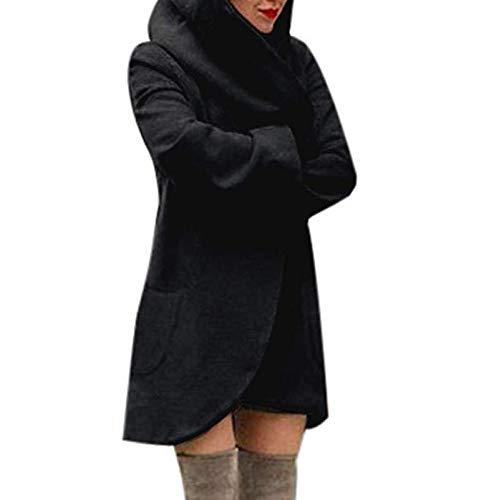 Mujer Schwarz Negro Chaqueta Lana Señoras Apretado La Delgada De Calidad Súper Las Salvaje Gris Abrigo Superior Capa Para Moda Capucha Rosa Suelta Con Acogedor Ocasional wOI4Sxq
