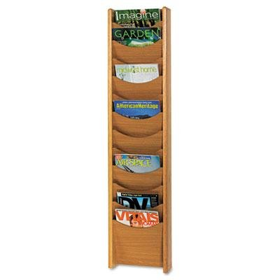 Safco - Solid Wood Wall-Mount Literature Display Rack 11-1/4 X 3-3/4 X 48 Medium Oak ''Product Category: Office Furniture/Display Racks & Cases''
