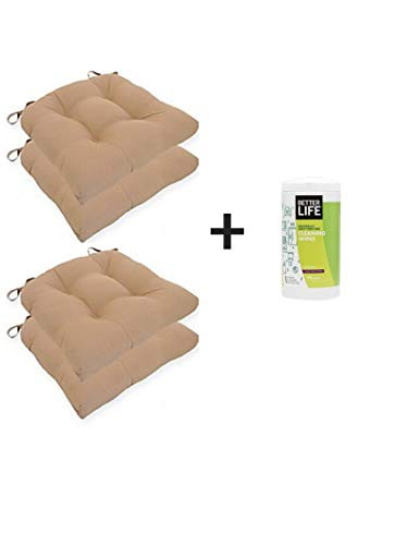 (Essentials Micro Fiber Set of Four (4) Chair Pad Seat Cushions Comfortable, Indoor, Dining Living Room, Kitchen, Office, Den, Washable, Fabric Ties, Tan, 4 Piece)