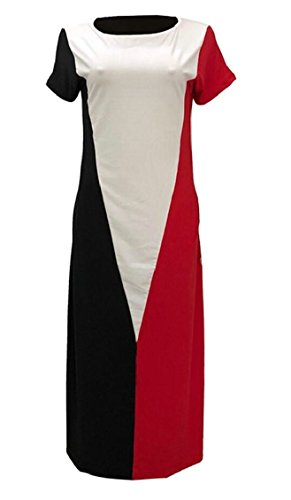 Maxi Sexy Colorblock Pockets Loose Women Jaycargogo Red Short Sleeves with Dress xYSPwpq5C