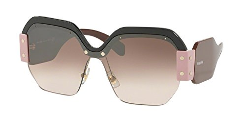 Miu Miu Women's 0MU 09SS Black/Gradient Brown Mirror Silver Sunglasses