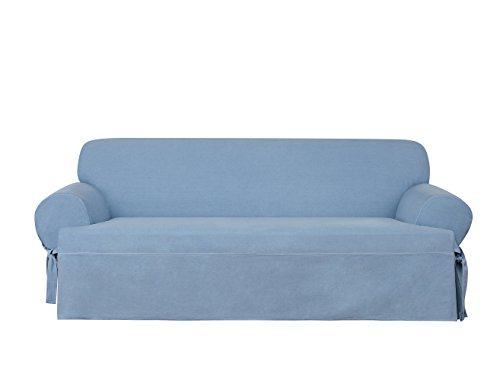 Sure Fit Authentic Denim One Piece T-cushion Sofa Slipcover - Chambray (SF44743)