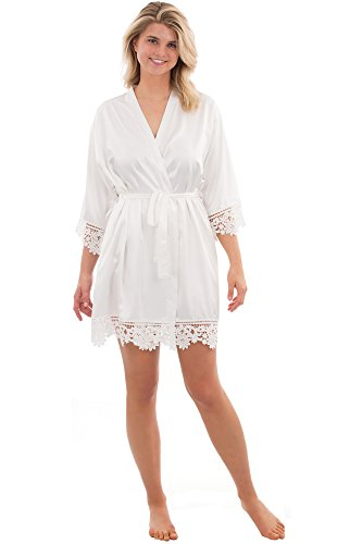 VEAMI Juliette Lace Bridal Robe, Short Robe, Personalized- White Magnolia- Small