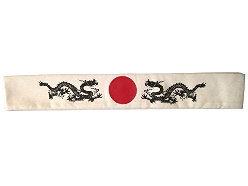 [Oidon Dueling Dubble Dragons Headband Sports Gift Hachimaki] (Japanese Costumes For Male)