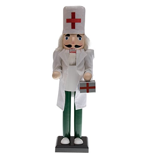 Clever Creations Doctor Nutcracker Dressed with White Cloth Lab Coat and Green Scrubs | Red Cross Hat and Doctor's Case | Perfect for Shelves and Tables | Collectible Wooden Nutcracker - Coat Nutcracker